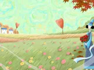 秋天的童话文艺唯美手绘插画壁纸