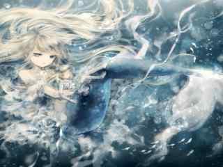 清新唯美美人鱼手绘壁纸图片下载