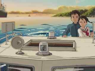 虞美人盛开的山坡松崎海和风间俊在海上桌面壁纸