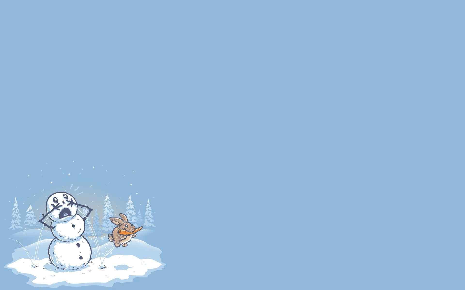 创意卡通手绘雪人桌面壁纸