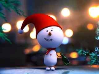 可爱的手绘小雪人桌面壁纸