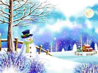冬日雪人手绘图片桌面壁纸