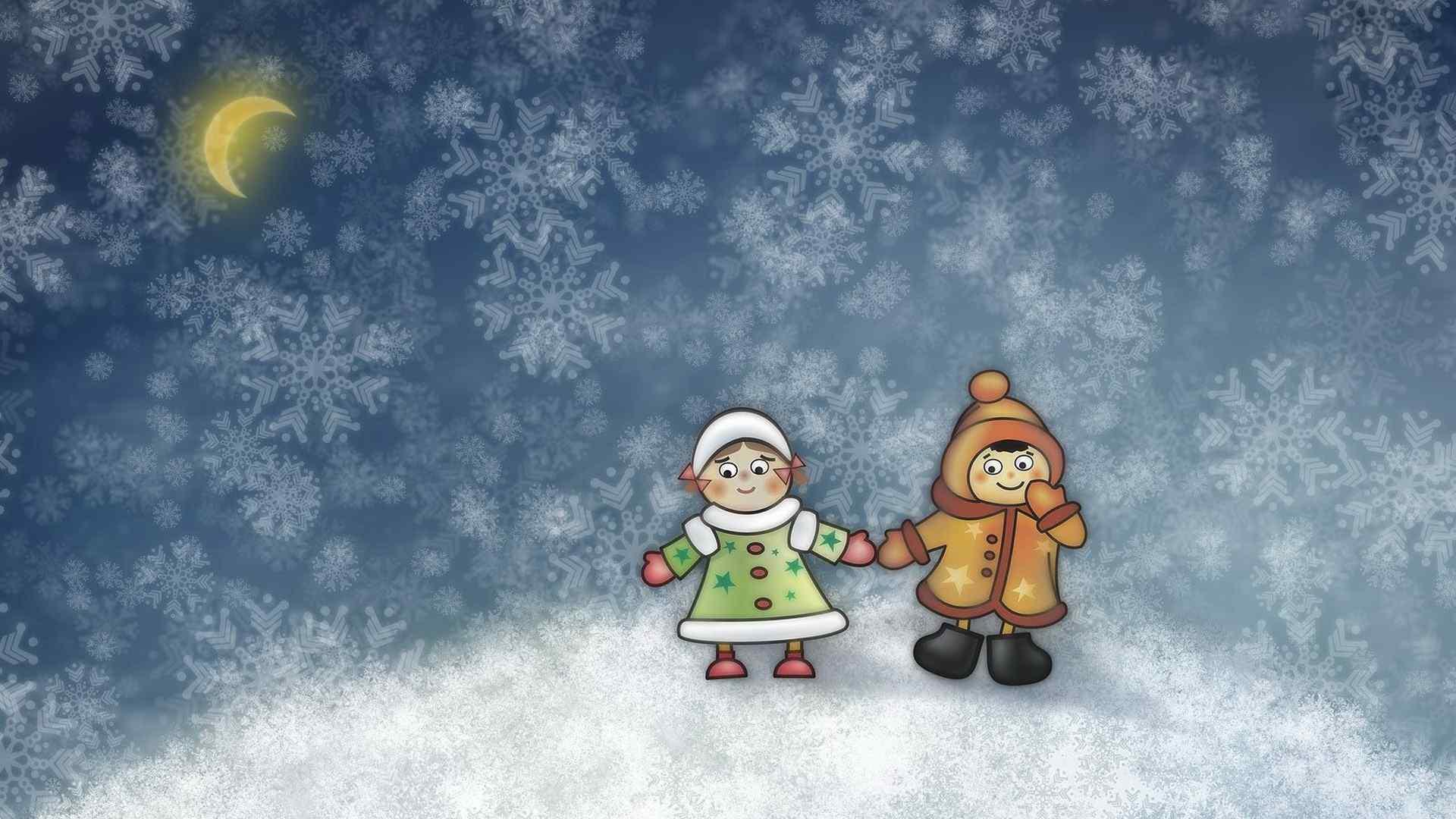 冬日温暖卡通情侣小人儿桌面壁纸