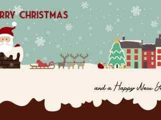 卡通圣诞老人爬烟囱桌面壁纸