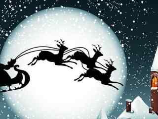 骑着麋鹿的圣诞老人卡通图片