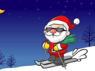 酷酷的滑雪的圣诞老人图片桌面壁纸
