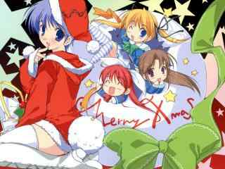 可爱的动漫美女过圣诞节