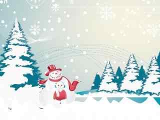 可爱的卡通雪人图
