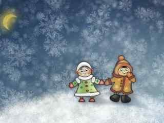 冬日温暖卡通情侣