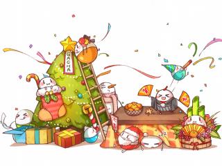 可爱的卡通动漫圣诞节桌面壁纸