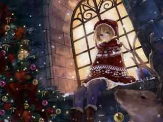 唯美动漫圣诞雪夜图片桌面壁纸