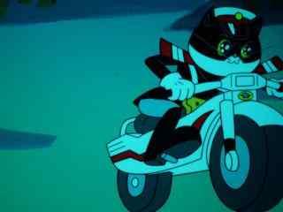 黑猫警长帅气摩托车造型图片桌面壁纸