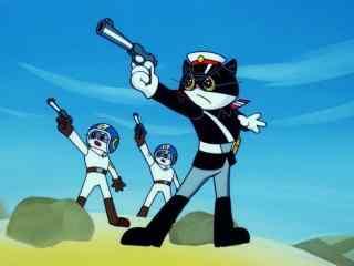 黑猫警长举枪特写护眼桌面壁纸