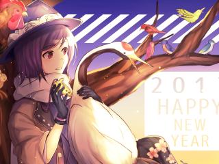 2017年唯美动漫少女恭贺新年