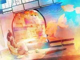 唯美的和风锦鲤插画图片