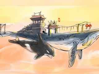 手绘创意鲸鱼图片桌面壁纸