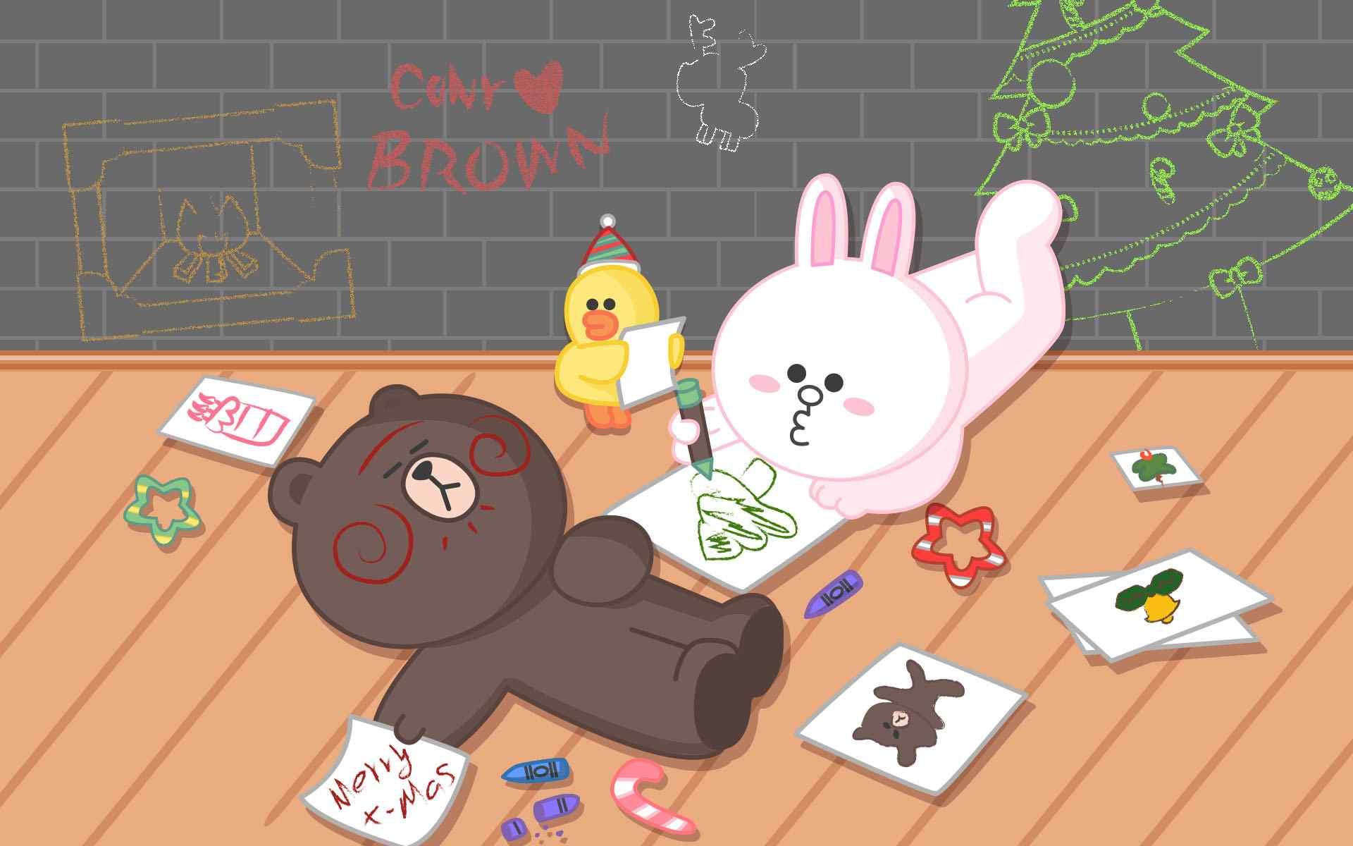 布朗熊和可妮兔桌面_可爱的Line Friends 桌面壁纸 -桌面天下(Desktx.com)