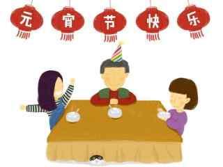元宵节创意手绘卡通团圆图片桌面壁纸