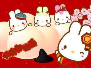 元宵节创意卡通兔子图片桌面壁纸