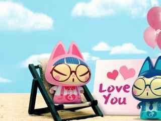 卡通可爱情侣图片壁纸