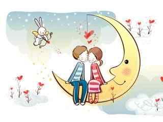 温馨浪漫卡通情侣图片壁纸