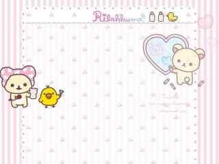 粉色轻松熊可爱卡通桌面壁纸
