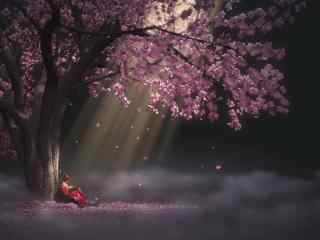西府海棠树下的袁小棠高清壁纸