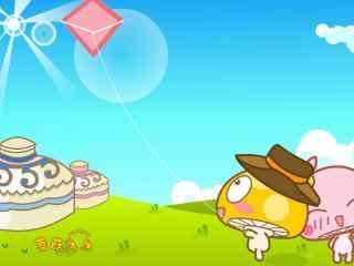 可爱蘑菇点点滴滴放风筝桌面壁纸
