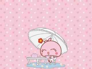 粉色可爱的蘑菇滴滴桌面壁纸