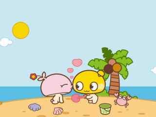夏日蘑菇点点滴滴沙滩玩耍桌面壁纸