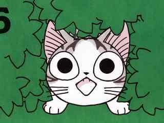 甜甜私房猫躲在树丛中的小起桌面壁纸
