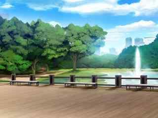 开学季之动漫校园风景桌面壁纸