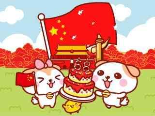 十一国庆节可爱卡通兔子桌面壁纸