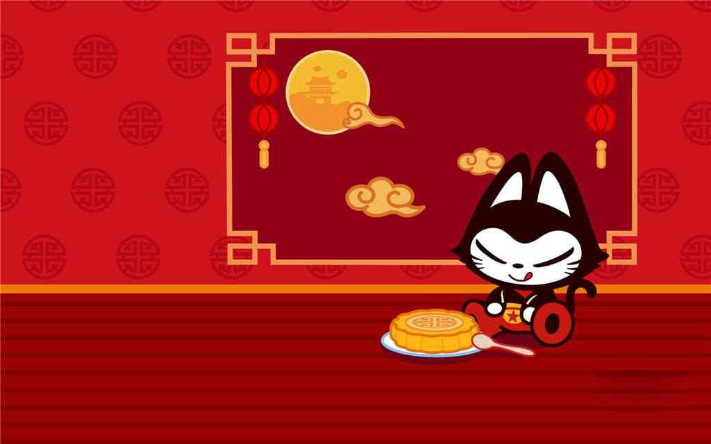 中秋节之二哈可爱桌面壁纸