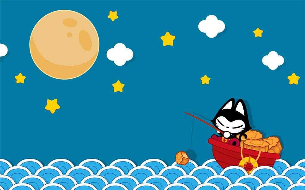 中秋节之萌萌哒猫咪桌面壁纸