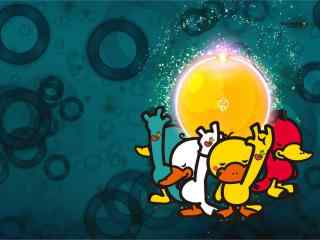 中秋节之鸭嘴兽男孩卡通海报壁纸