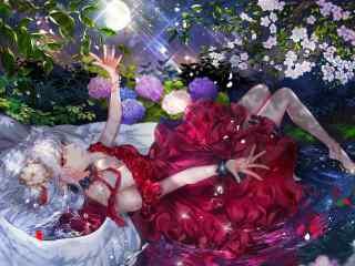 晚上,月光,唯美女生,漂亮裙子,鲜花,动漫壁纸