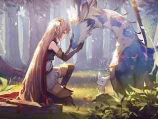 动漫美女壁纸森林,精灵,长发女孩,神兽,唯美意境动漫壁纸