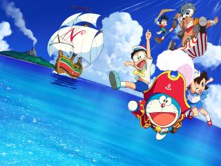 哆啦A梦:大雄的金银岛出发航海桌面壁纸