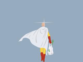 一拳超人埼玉光头背影手绘桌面壁纸