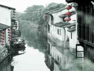 白墙黑瓦的江南建筑桌面壁纸