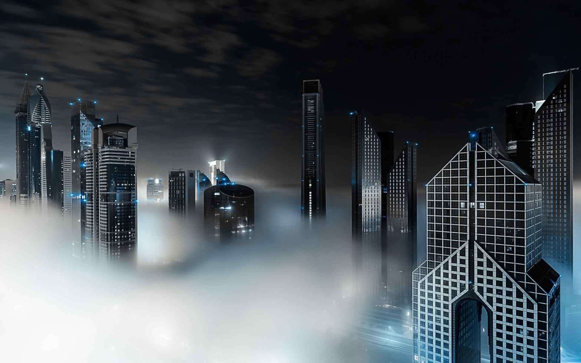 夜幕下迷雾缭绕的迪拜高清壁纸