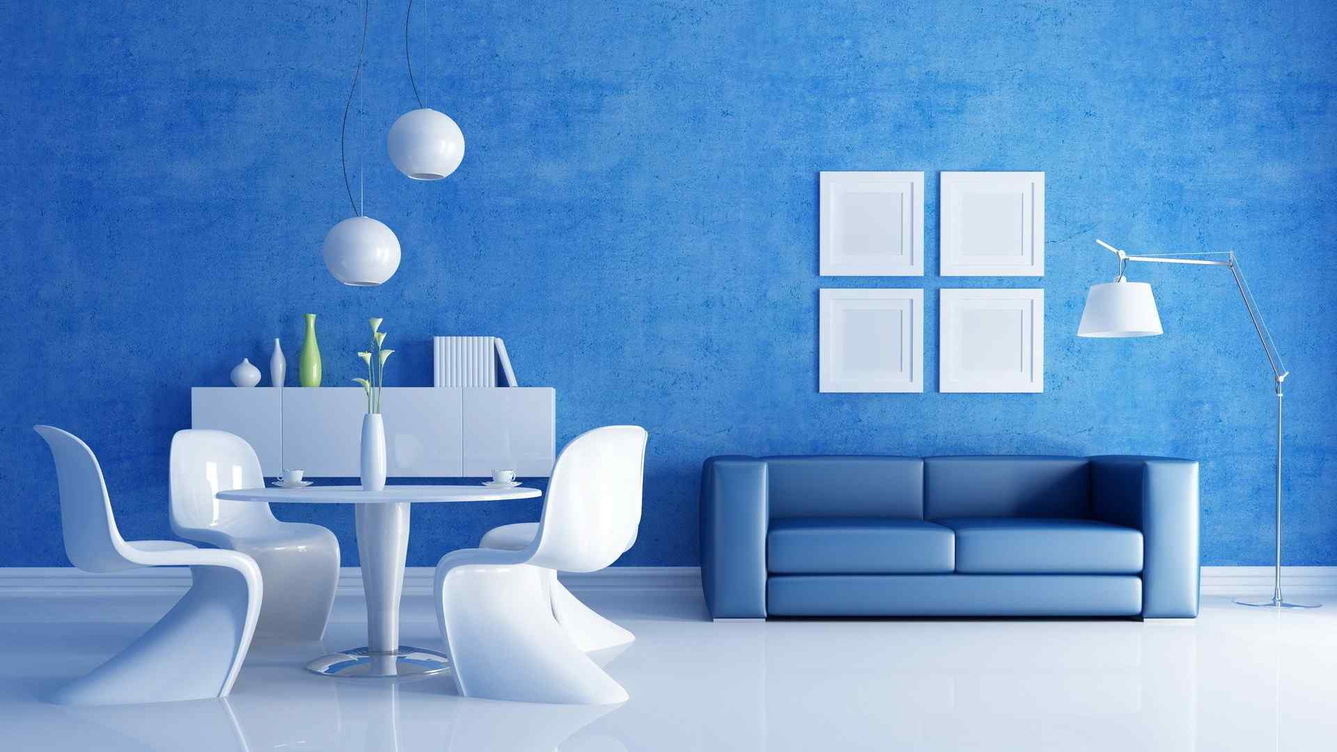 蓝色简约客厅家居壁纸