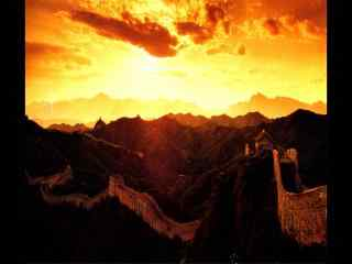 北京万里长城火烧云场景桌面壁纸下载