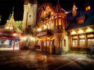迪士尼乐园唯美夜