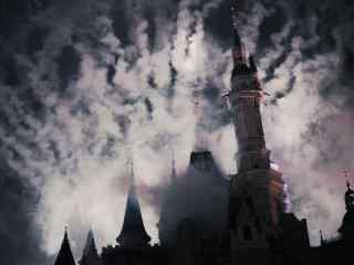 黑云笼罩诡异神秘城堡桌面壁纸