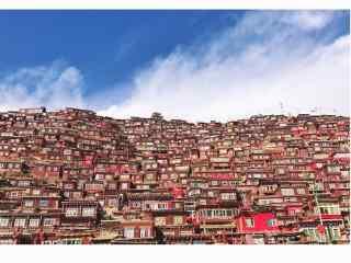 红色城市小镇桌面壁纸