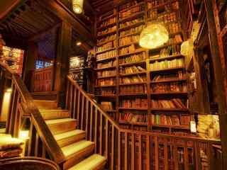 文艺古老的图书馆桌面壁纸