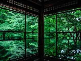 绿色清新建筑桌面