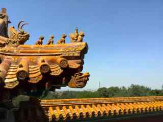 北京故宫金色房檐
